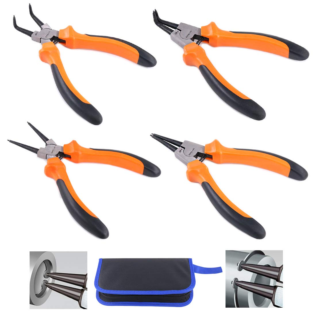 Glarks 4Pcs 7-Inch Snap Ring Pliers Set Heavy Duty Internal/External Circlip Pliers Kit with Straight/Bent Jaw for Ring Remover Retaining, with Leather Bag by Glarks