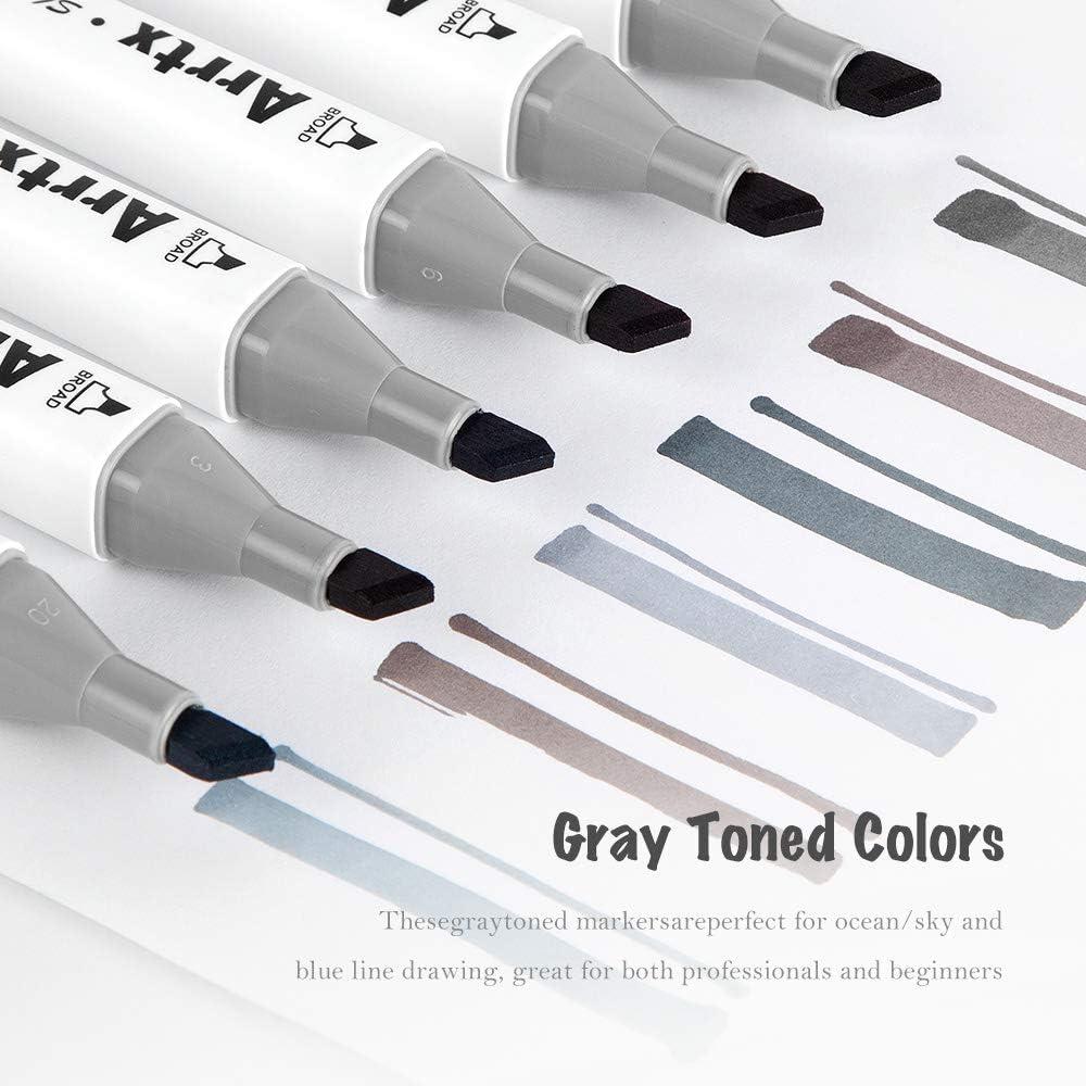 Arrtx Marqueurs de ton gris Ensemble de 30 marqueurs /à double pointe dessiner portraits colorier illustrations marqueurs dart permanents /à base dalcool pour dessiner