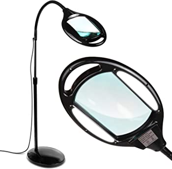 Brightech LightView Pro LED Magnifying Floor Lamp - Daylight Bright Full Spectrum Magnifier Lighted Glass Lens