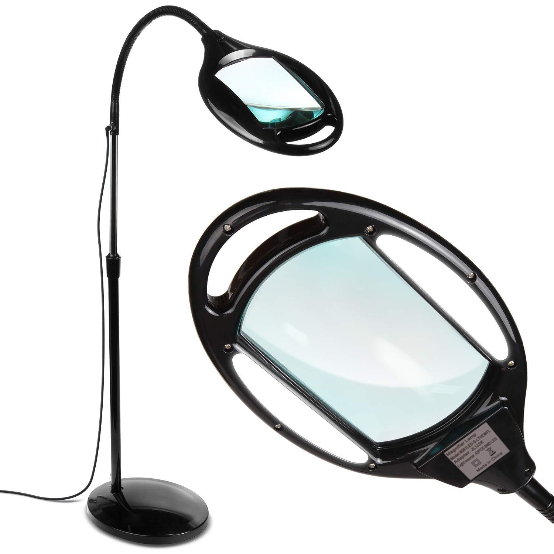 Brightech LightView Pro LED Magnifying Floor Lamp - Daylight Bright Full Spectrum Magnifier Lighted Glass Lens - Height Adjustable Gooseneck Standing Light - For Reading Task Craft Lighting - Black
