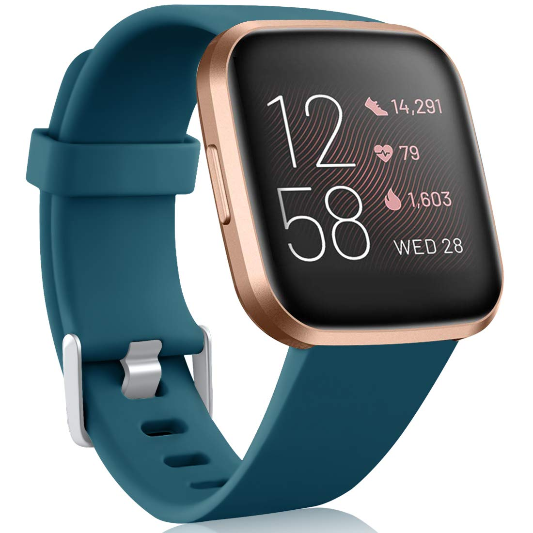 Maledan Compatible with Fitbit Versa 2/Versa/Versa SE/Versa Lite Bands for Women Men, Waterproof Soft Silicone Band Classic Sport Strap Replacement for Fitbit Versa Watch, Large, Slate Blue