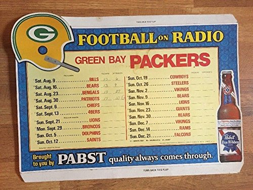 1975 GREEN BAY PACKERS SCHEDULE PABST BLUE RIBBON BEER ADVERTISEMENT - Green Bay Packers Schedule