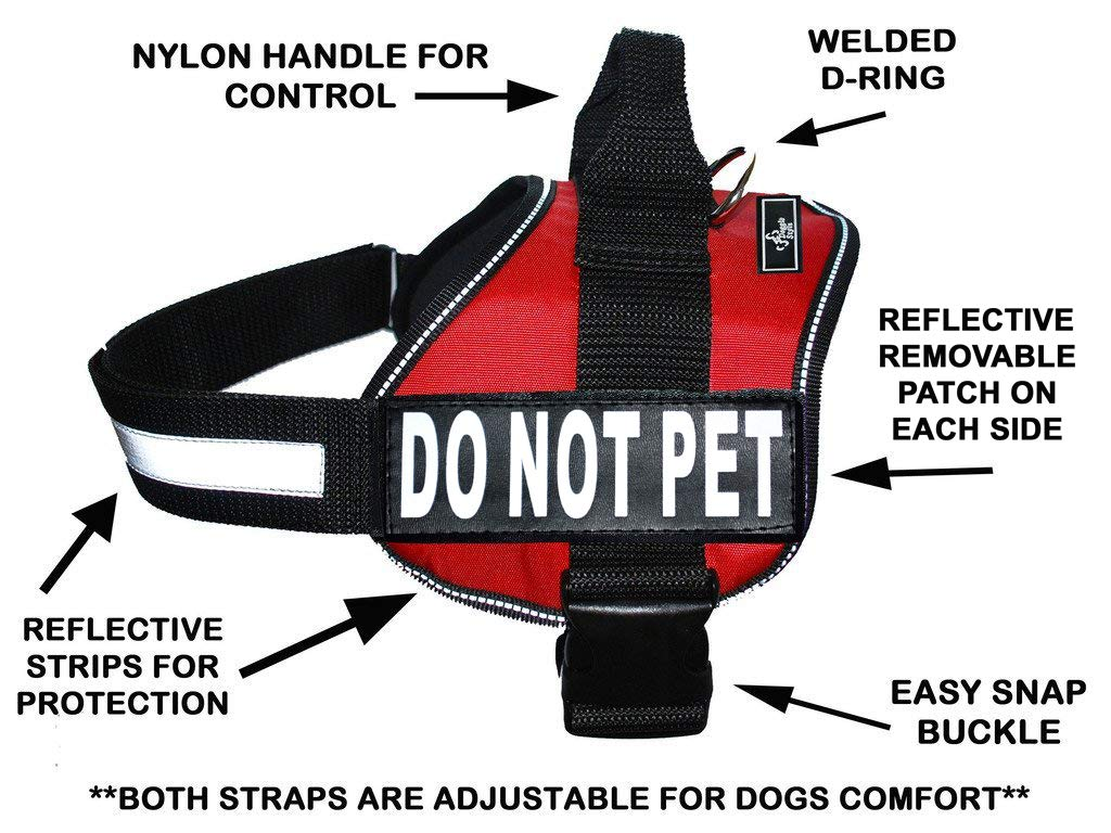 DO NOT PET Dog Vest Harness with Removable Patches and Reflective Trim. Comes with 2 DO NOT PET Reflective Removable Patches. Please Measure Dogs Girth Before Purchase by Doggie Stylz