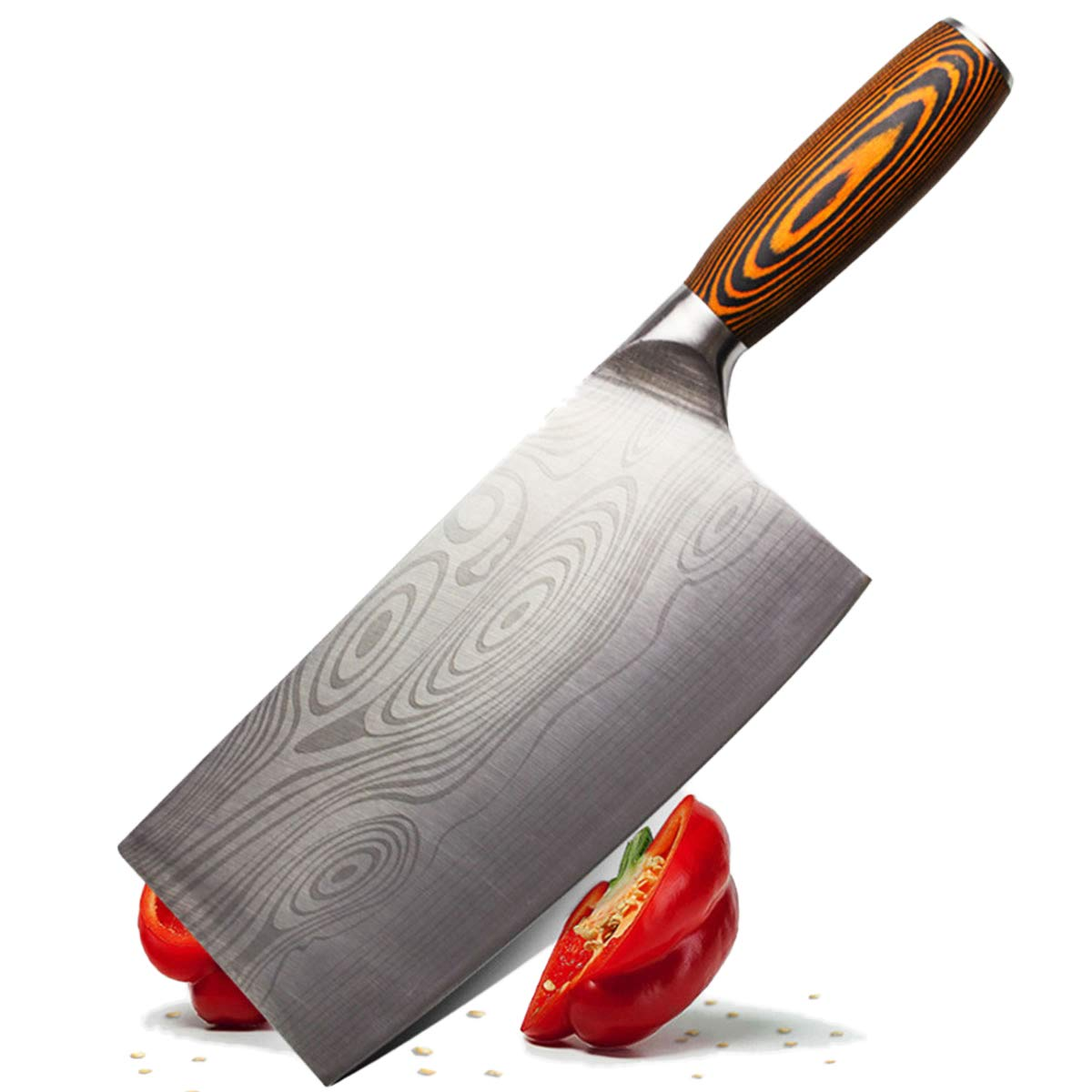 YIJIA 8 Inch Chinese Chef's Knife Stainless Steel Kitchen Cleaver Knife Chopper Butcher with Wooden Handle for Home and Restaurant by YIJIA