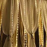 Semoon Curtain Lights 600 LEDs String Lights 6 3M Waterproof with Timer Function Remote Control 8 Modes Fairy Lights for Wedding Party Home Garden Bedroom Wall Decorations - Warm White