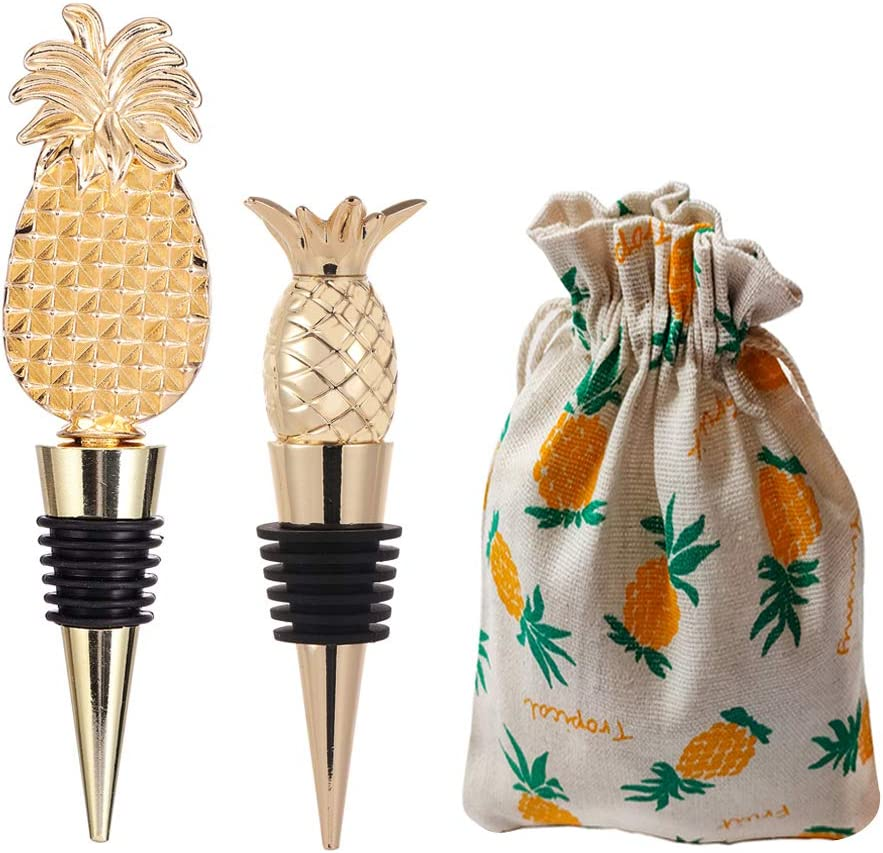 WAYTOSUC 2 Different Style Pineapple Wine Bottle Stoppers,Pineapple Themed Plug Kitchen Bar Decor for Wine themed Favor Gifts (3D Pineapple, 2)