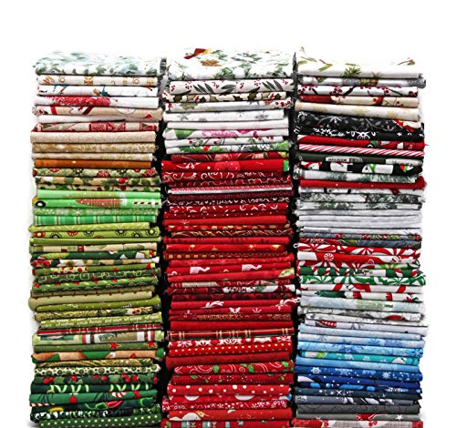 Christmas Fat Quarter Bundle - 10 Fat Quarters - Christmas Assorted Fat Quarter Bundle Holiday Festive Winter Quality Quilters Cotton Fabrics M227.04
