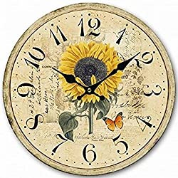 12 Retro Vintage Sun Flower Garden French Country Tuscan Style Non-Ticking Silent Wooden Wall Clock Art Decoration