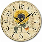 12'' Retro Vintage Sun Flower Garden French Country Tuscan Style Non-Ticking Silent Wooden Wall Clock Art Decoration