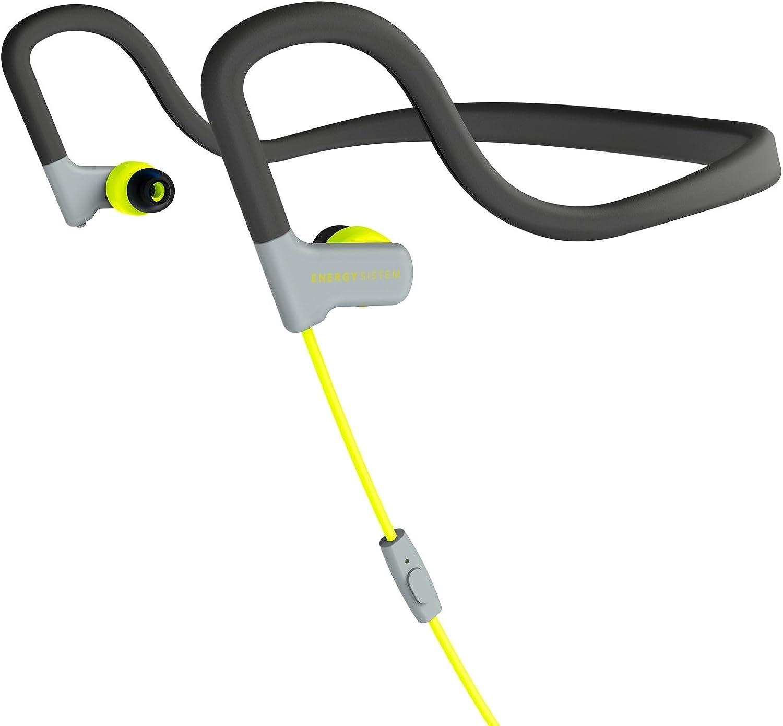 Energy Sistem Earphones Sport 2 (Diadema, Resistencia Sudor y Salpicaduras, Control de reproducción, micrófono y Cable de Audio) Amarillo