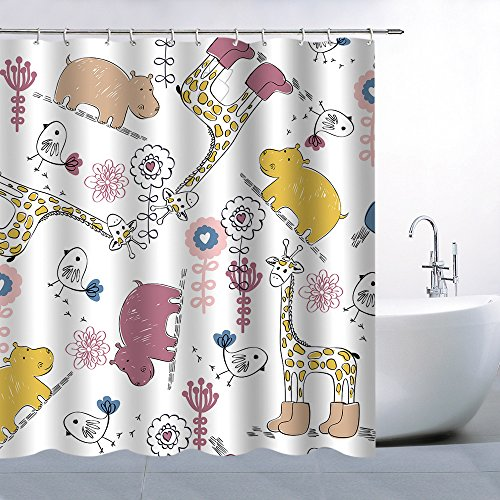 Giraffe Blue Shower Flower (BCNEW Animal Flower Pattern Theme Shower Curtain Lovely Yellow Beige Magenta Giraffes Hippos Birds Pink Blue Flowers Waterproof Mildew Resistant Polyester 70 x 70 Inches)