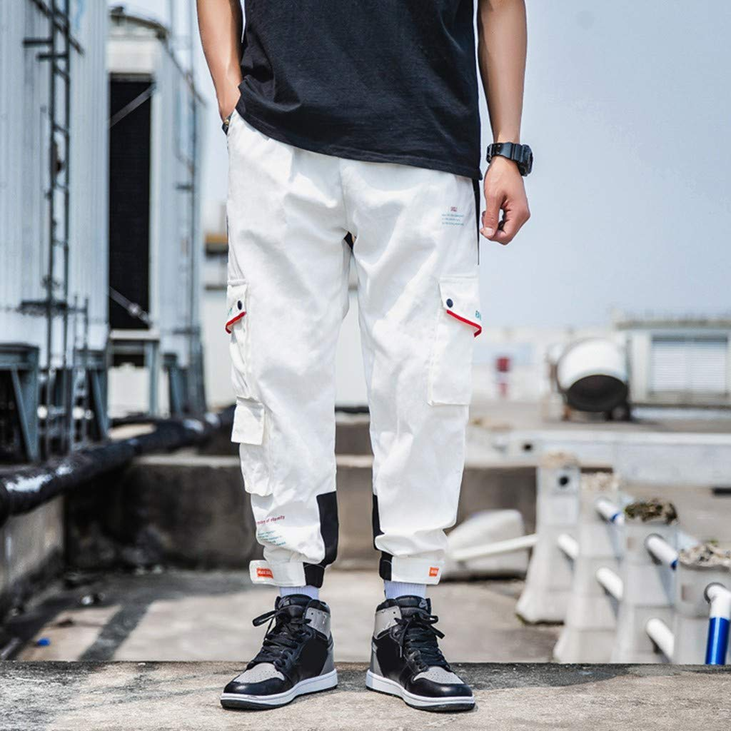 Mens Summer Overalls Pure Colour Comfortable Trousers