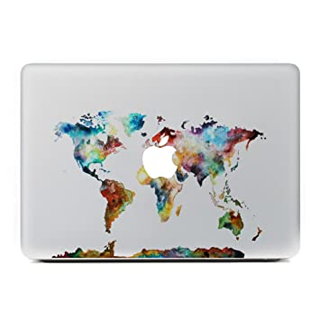 Vati leaves removable world map vinyl decal sticker amazon vati leaves removable world map vinyl decal sticker skin art black for apple macbook pro air gumiabroncs Images