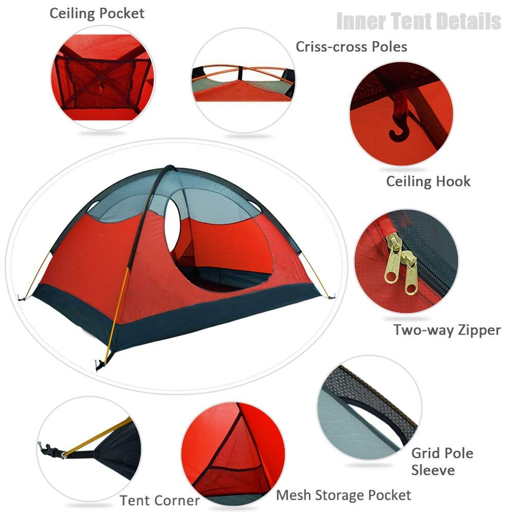 GEERTOP Tienda iglú de Campaña Impermeable Ligera 3 Personas 3 Estaciones - 180 x 210 x 120 cm (2,5kg) - UV Resistente para Acampar Excursionismo y Turismo ...