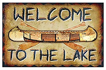Amazon.com: Bienvenido a el Lago canoa novedad cartel ...