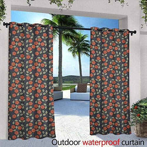 LOVEEO Garden Art Curtains for Living Room Dark Toned Dotted Background with Flower Silhouettes and Foliage Embossed Thermal Weaved Blackout 108