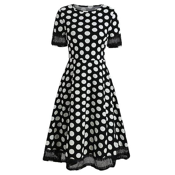 BBestseller-Vestidos Coctel Corto Vintage Manga Corta Rockabilly Elegante Mujer Vestido de Noche Faldas Fiesta Mujer Talla Grande Evening Dress: Amazon.es: ...