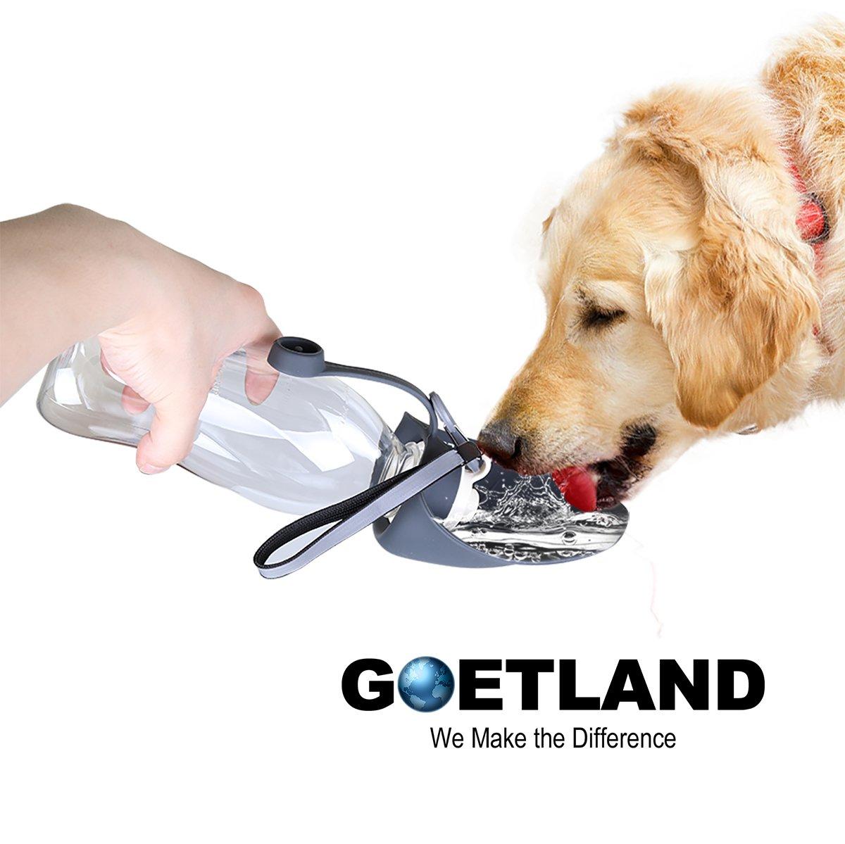 Goetland 20 oz Silicone Portable Dog Water Bottle Travel Bowl Leak Proof BPA Free with Free Strap, Grey