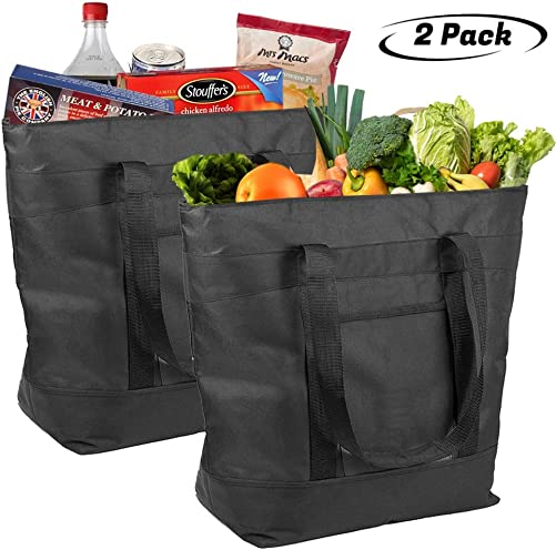 Lebogner Insulated Grocery Bag, 2 Pack Large 5 Gallon Capacity Vacation Cooler Bag For Hot Or Cold Food, Zipper Closure, Collapsible Travel Delivery, Shopping Carry Basket, Camping Outdoor Picnic Bags