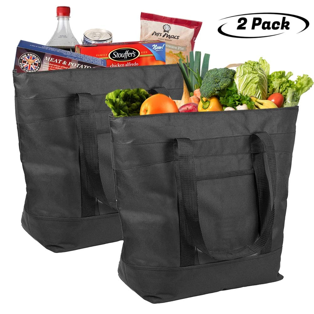 Lebogner Insulated Grocery Bag, 2 Pack Large 5 Gallon Capacity Vacation Cooler Bag For Hot Or Cold Food, Zipper Closure, Collapsible Travel Delivery, Shopping Carry Basket, Camping Outdoor Picnic Bags by lebogner
