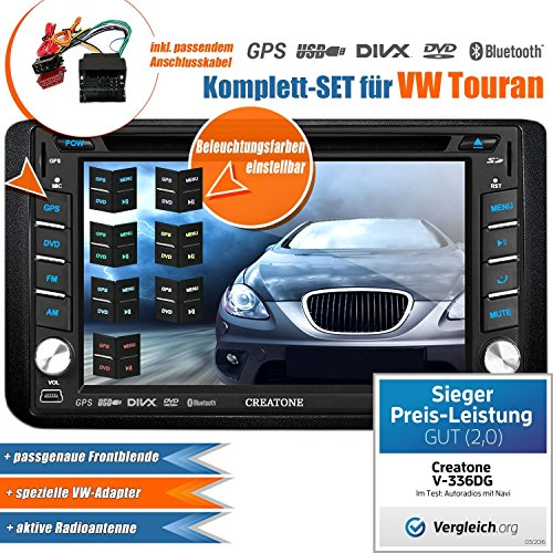 2DIN Autoradio CREATONE V-336DG für VW Touran (2003-2015) mit GPS Navigation (Europa), Bluetooth, Touchscreen, DVD-Player und USB/SD-Funktion