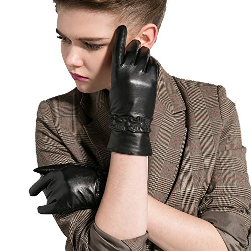 Magelier Women's Genuine Lambskin Nappa Leather Cashmere Fleece Mittens Motorcycle Driving Magic Fashion Dressy Gloves Gifts Glove,Black,Medium