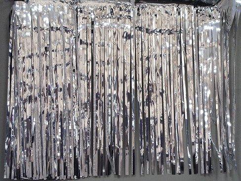 Silver Metallic Fringe Table Skirt -