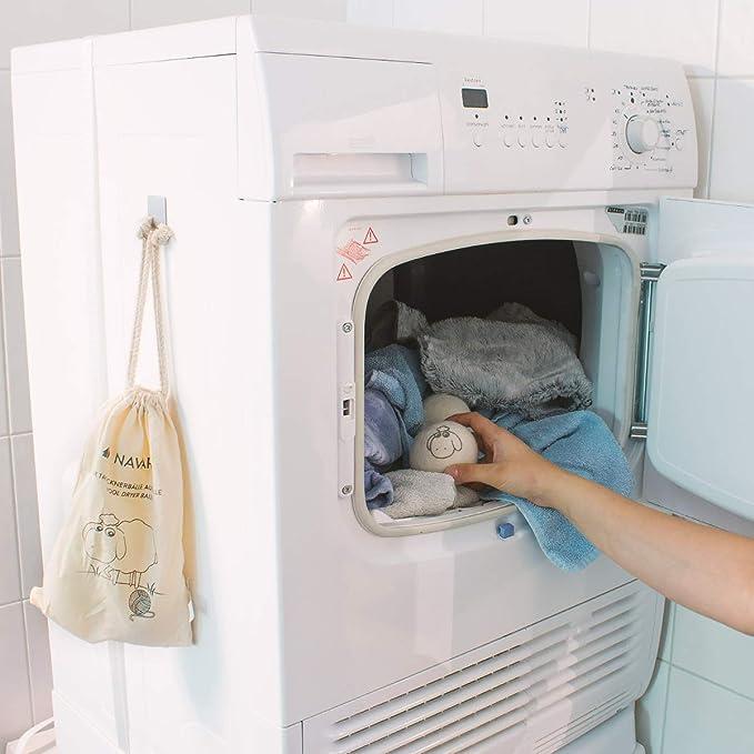 NaiCasy bal/ón secador de Lana Premium bal/ón secador de Lana Blanca Tela Natural Reutilizable Bola Suave
