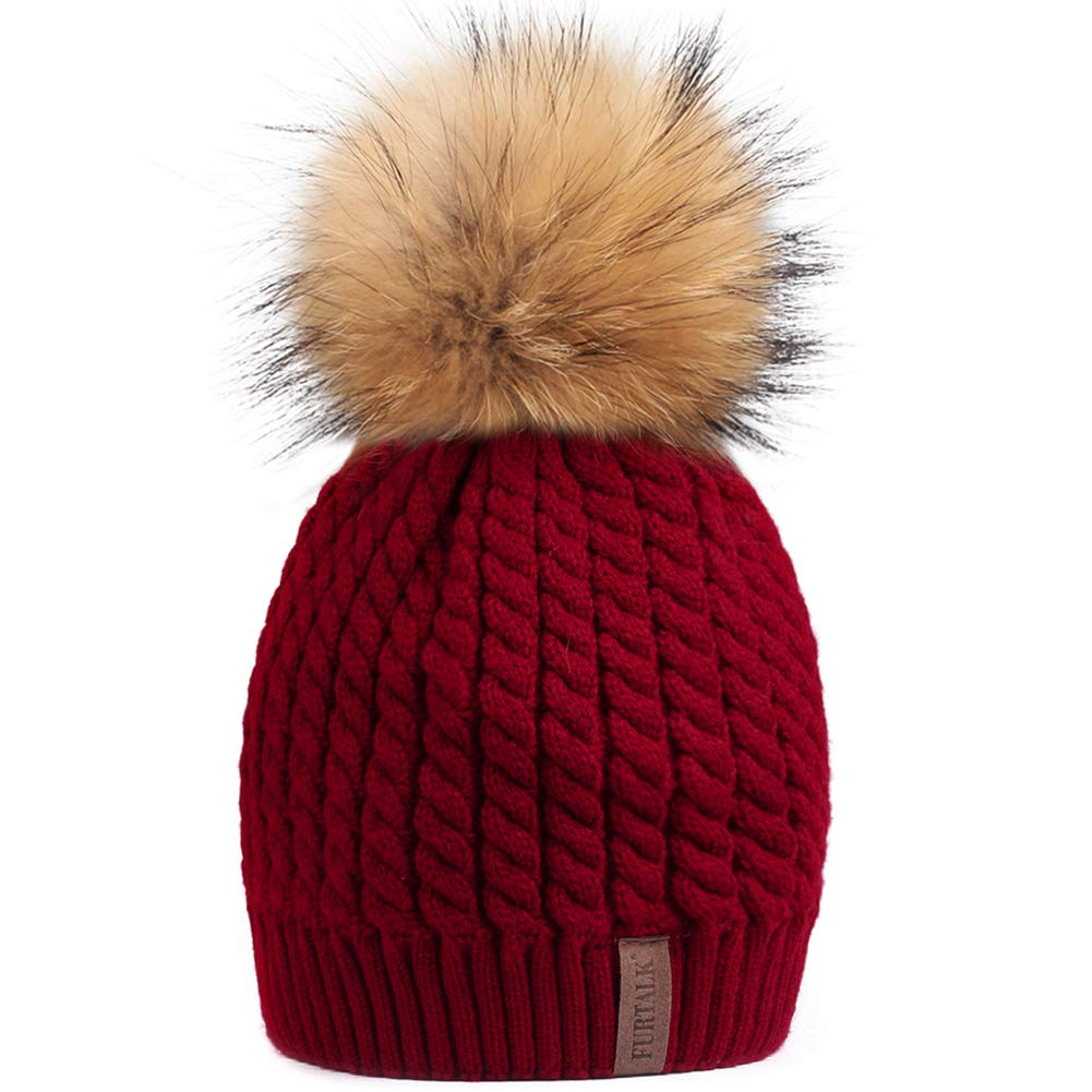 Burgundy (Real Raccoon Fur) Soft Solid Ribbed Stretch Cable Knit Faux Fur Pom Pom Beanie Hat