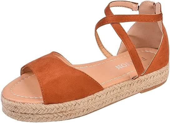 Sandalias de Mujer Sandalias de Verano Sandalias Romanas Planas con Punta Abierta Planas cómodas y Elegantes: Amazon.es: Zapatos y complementos