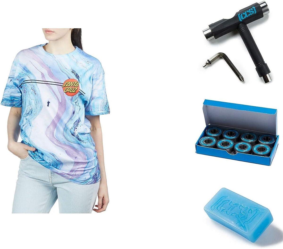 and Wax Santa Cruz Womens Classic Dot Boyfriend Shirts,Large,Marble Tie Dye Bearings LG with CCS Skate Tool