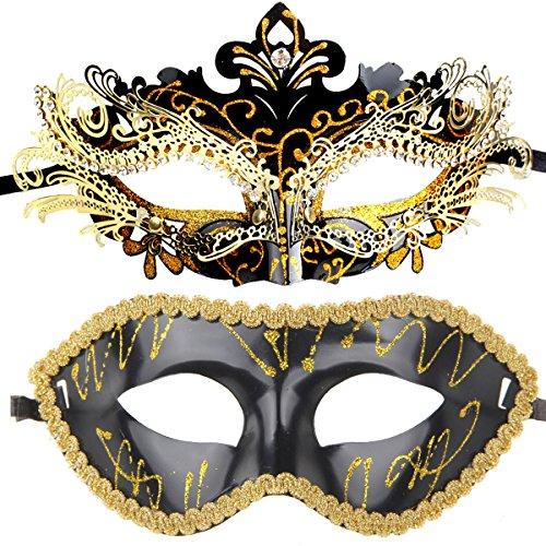 ECOSCO Couple Masquerade Mask Women Men Mardi Gras