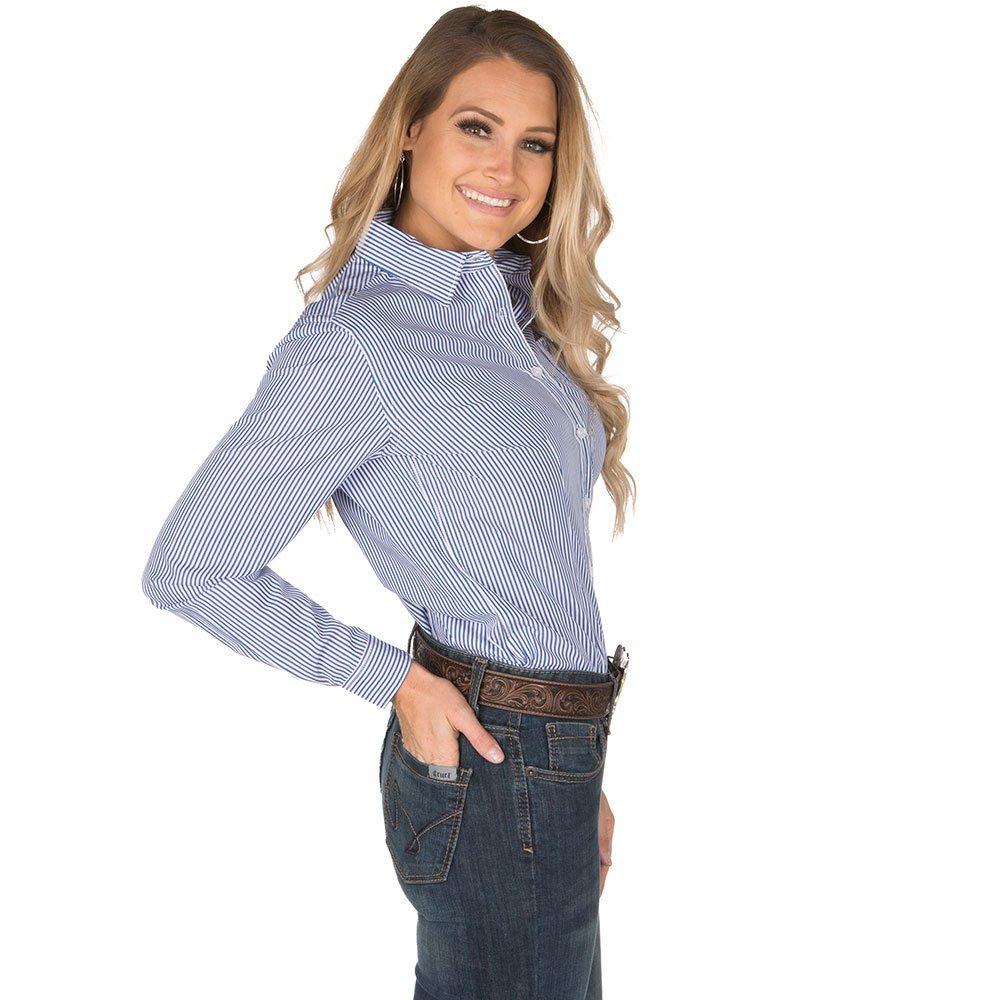 96df151ca Panhandle Rough Stock Navy Pinstripe Shirt at Amazon Women's Clothing store: