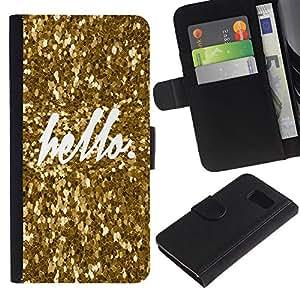 KingStore / Leather Etui en cuir / Samsung Galaxy S6 / Hola Bling del oro de la chispa de texto blanco