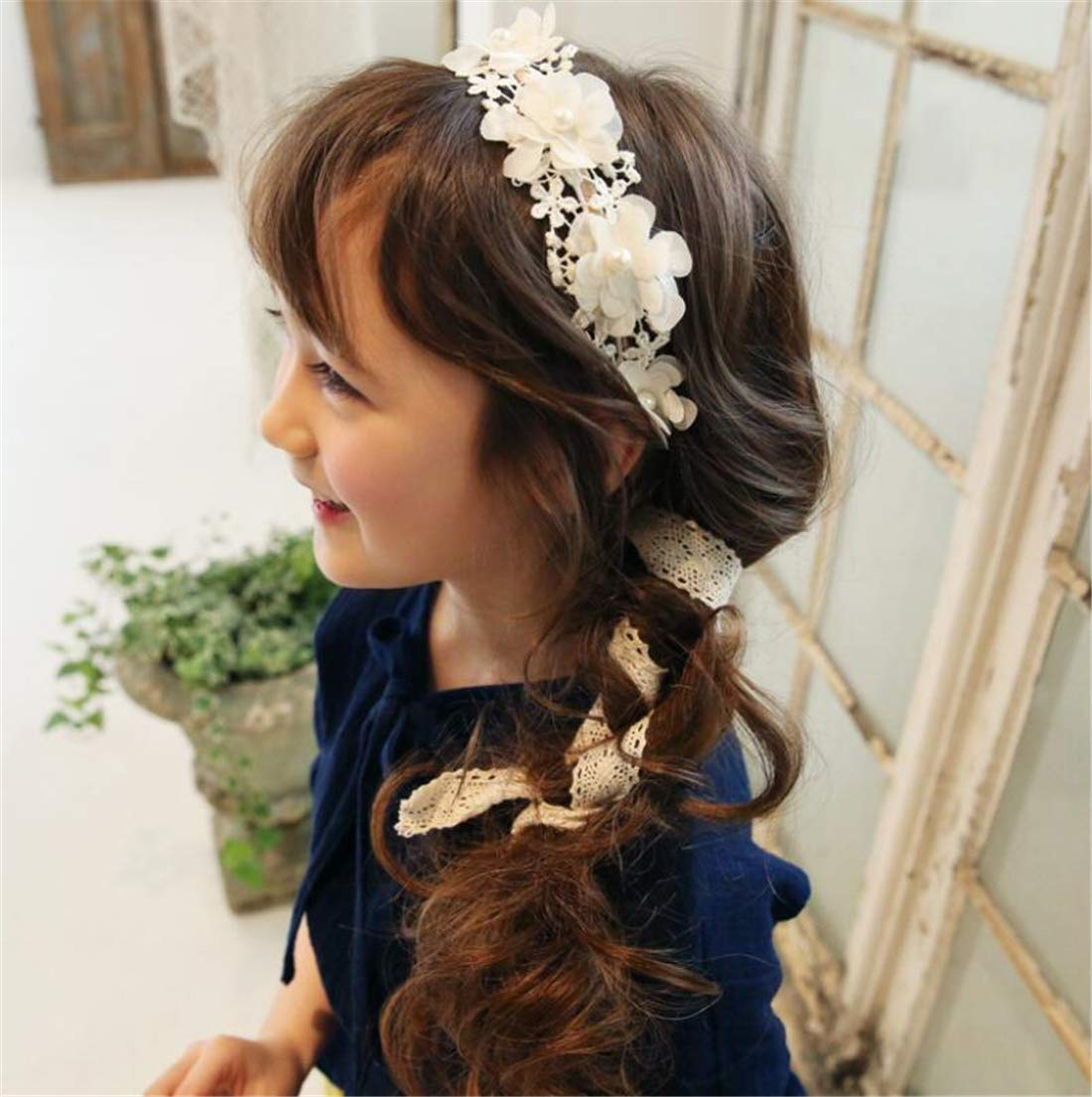 Tmrow 1pc Baby Girl Lace Flower Headband Infant Toddler Headwraps Hair Accessories