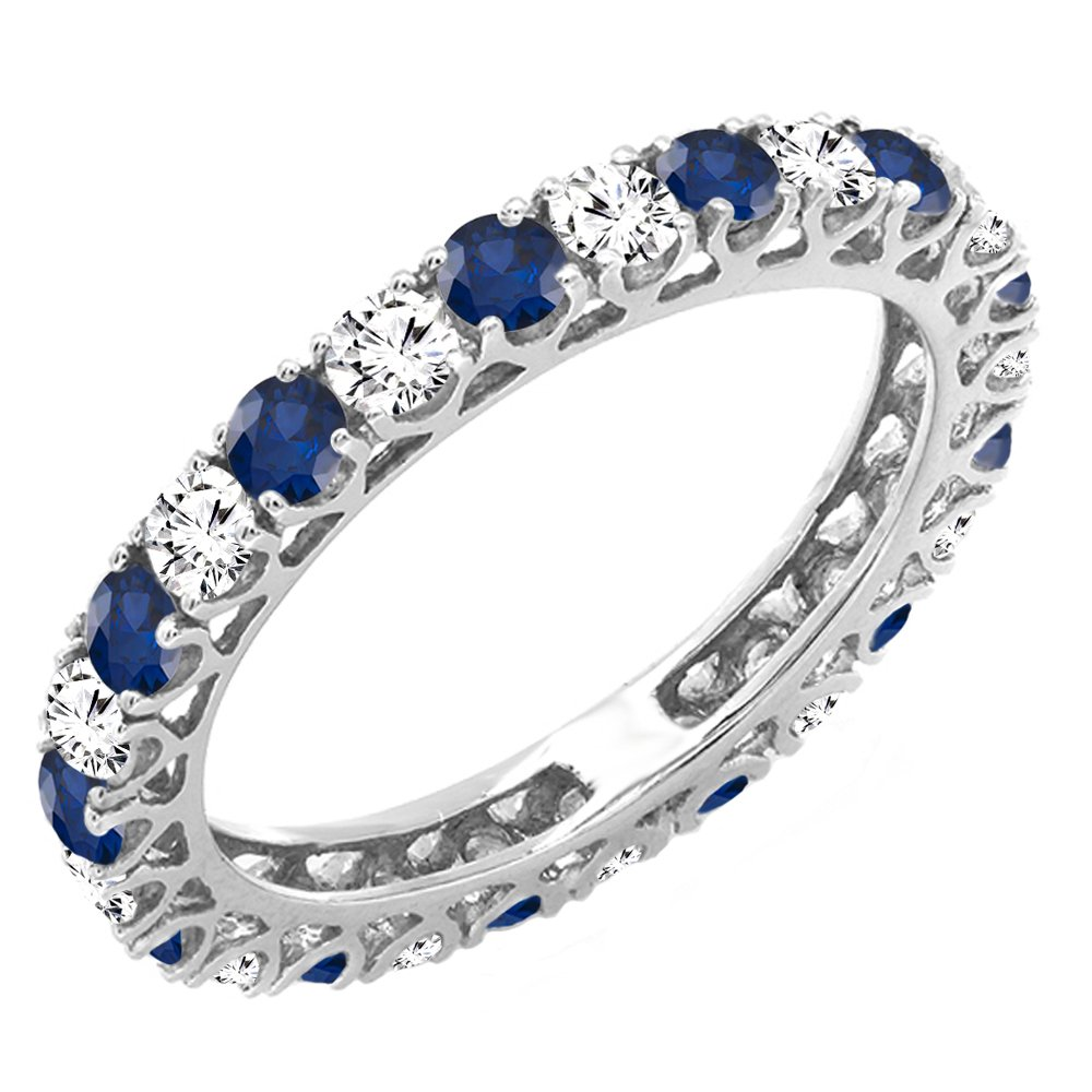 Dazzlingrock Collection 14K White Diamond & Blue Sapphire Eternity Wedding Anniversary Stackable Band, White Gold, Size 9
