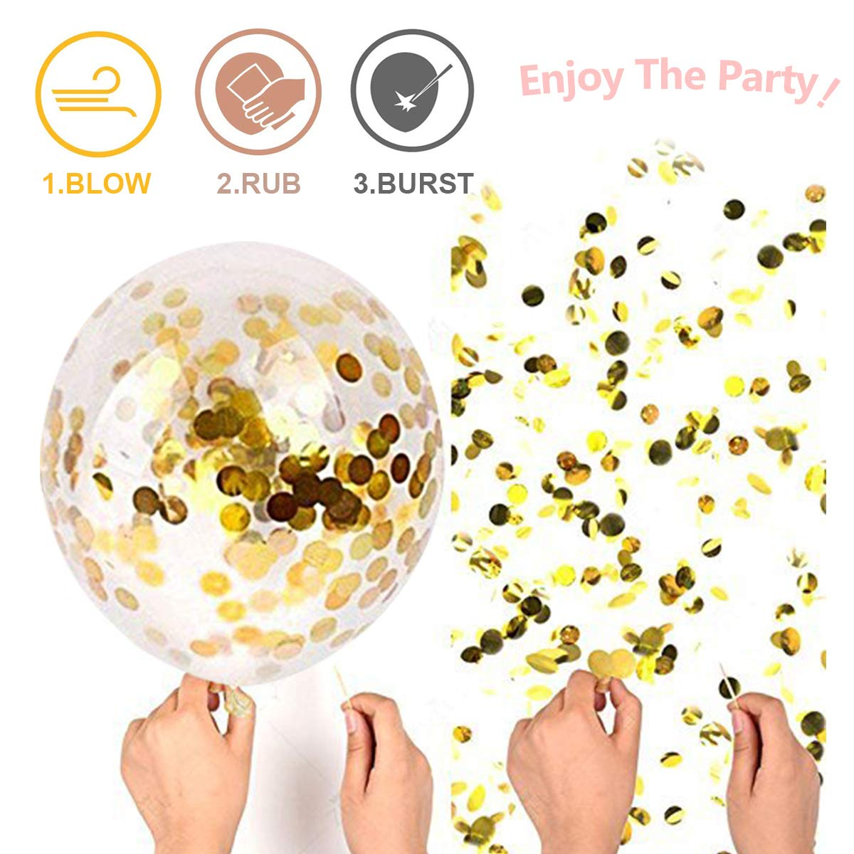 YMSZ Rose Gold Balloons /& Confetti 40pcs 12 Inch Glitter Latex Balloons for Baby Bridal Shower Birthday Party Decorations colorful