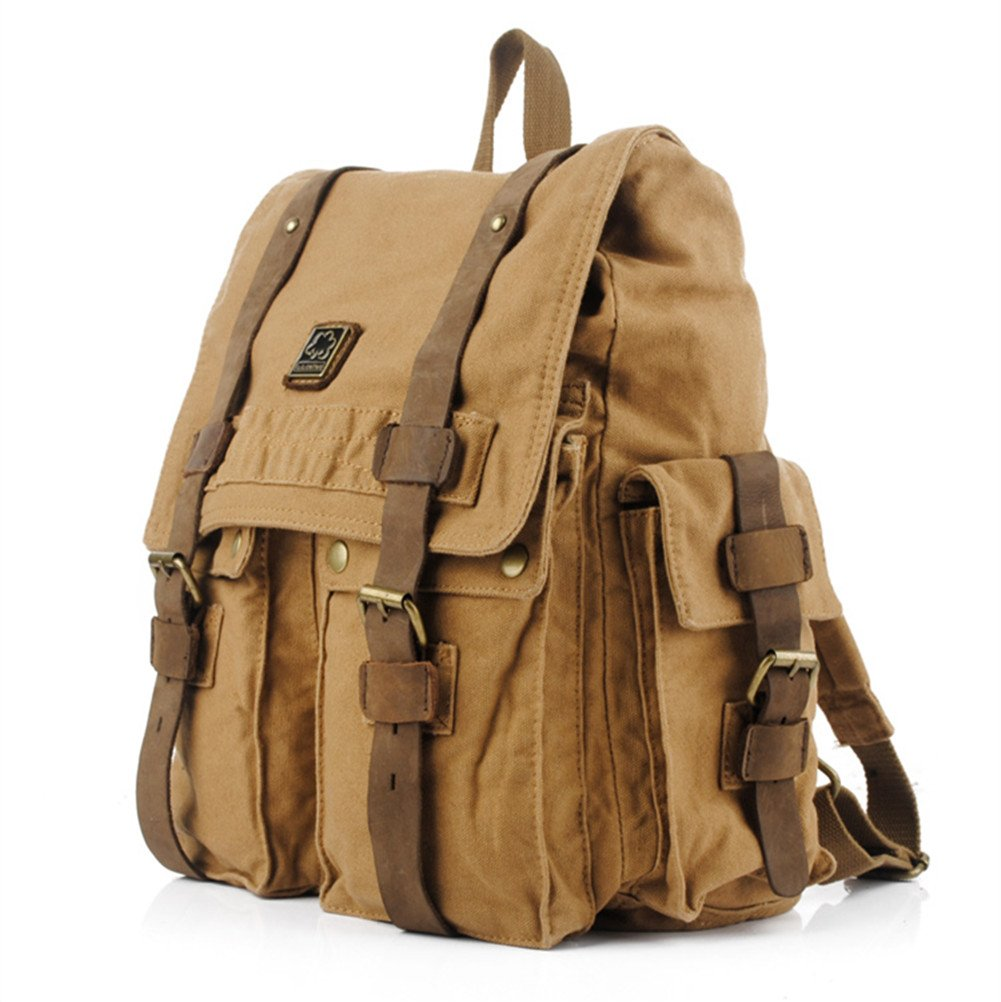 DRF Laptop Backpack fit 14 Canvas Daypack Vintage Style for Hiking BG33 Khaki