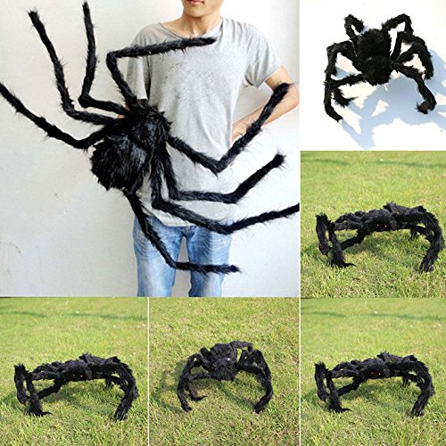 KOMIWOO 59 Inch 150CM Giant Huge Black Spider Decorations, Halloween Large Size Realistic Fake Hairy Spider Decor, Outdoor Big Spider Props for Halloween Party, Garden Patio Spiderweb Decoration
