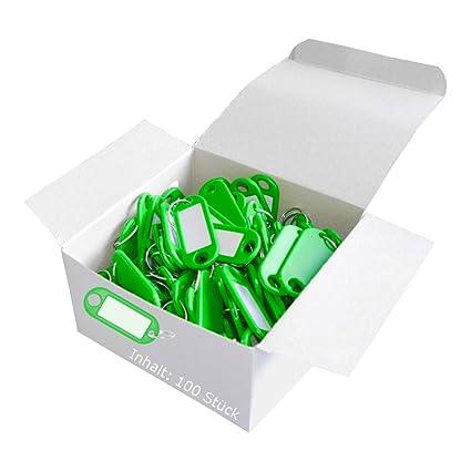 Wedo 262801804 Llavero con anillo de plástico, etiquetas intercambiables, 100 piezas, verde