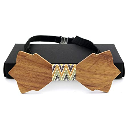 Wuxingqing Corbata de Lazo de Madera para Hombre Pajarita De ...