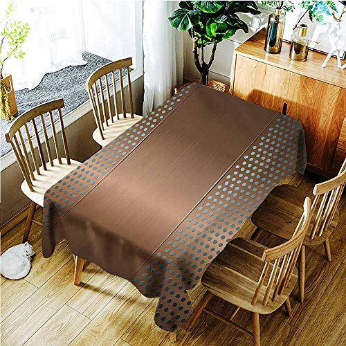 (TT.HOME Spill-Proof Table Cover,Industrial Perforated Grid Plate Steel with Dots Illustration Futuristic Technology Theme,Modern Minimalist,W60X102L,Ombre Bronze)