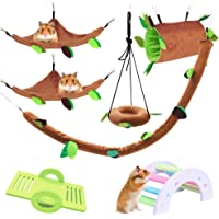LZYMSZ 7PCS Hamster Hammock, Small Animals Hanging Warm Bed House Cage Nest Accessories with Hanging Tunnel,Swing…