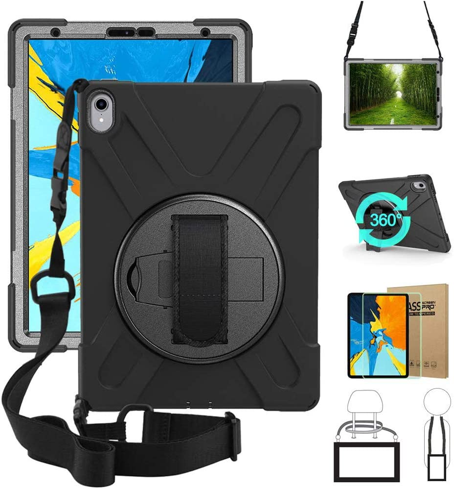 iPad Pro 11 Case Cover, Shockproof Rugged Protective Carrying Defender Case with Tempered Glass Screen Protector 360 Stand, Handle Hand Strap & Shoulder Strap, A1979/A1980 Drop Resistant Black