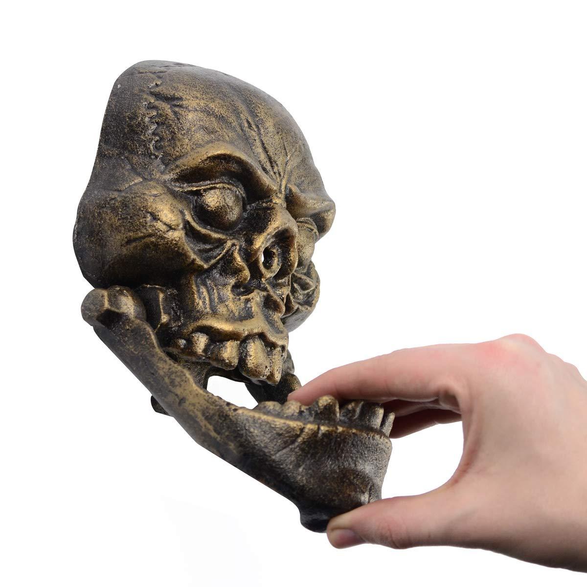 Cast Iron Skeleton Head Doorknocker Gold Skull Door Knocker Hardware