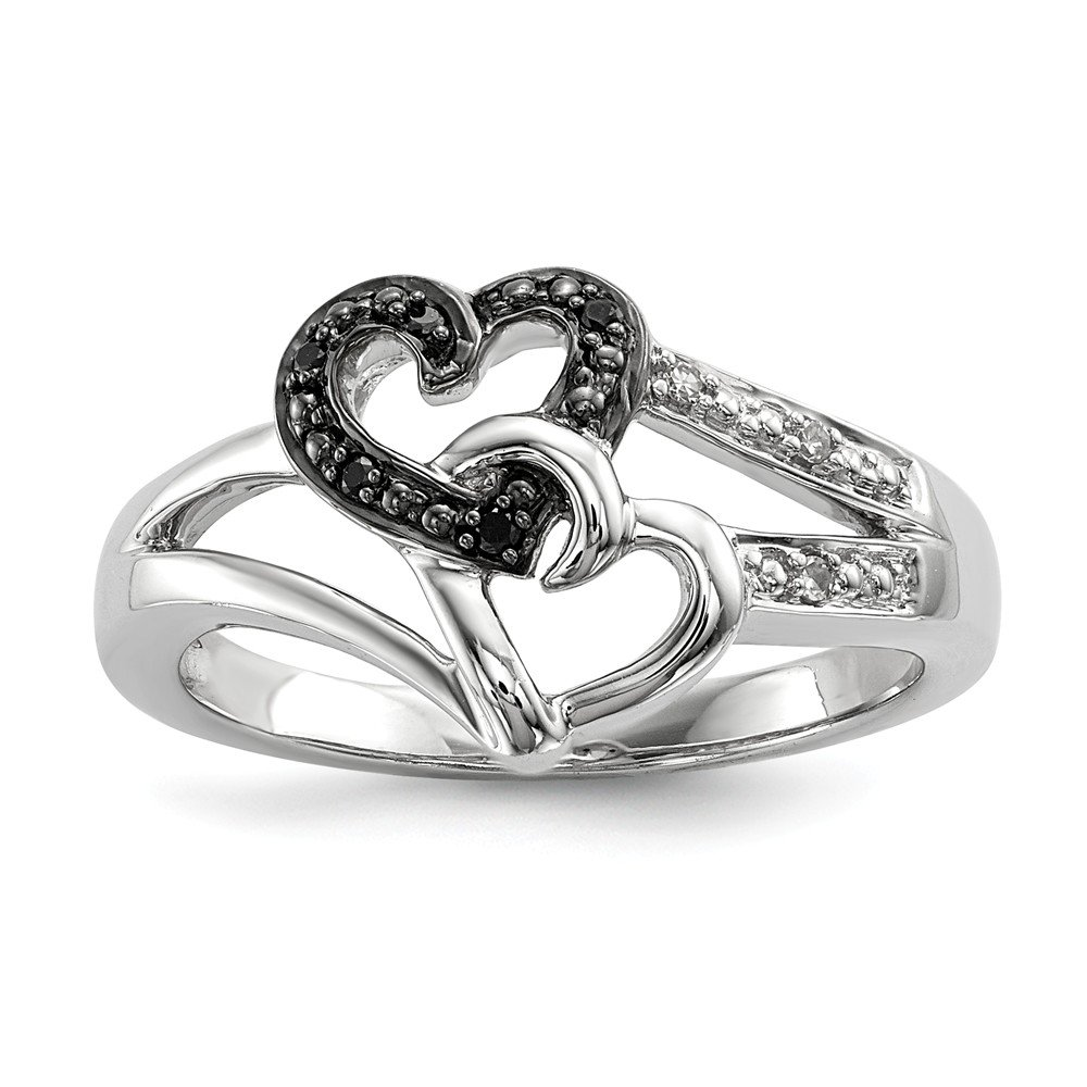 Size 7 Solid 925 Sterling Silver Black & White Diamond Heart Ring (12mm)