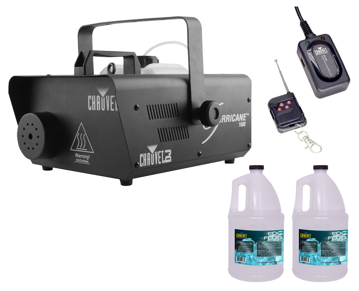 Chauvet H1600 Hurricane 1600 Fog Machine +FC-W Wireless Remote +2x Fluid Gallon by Chauvet