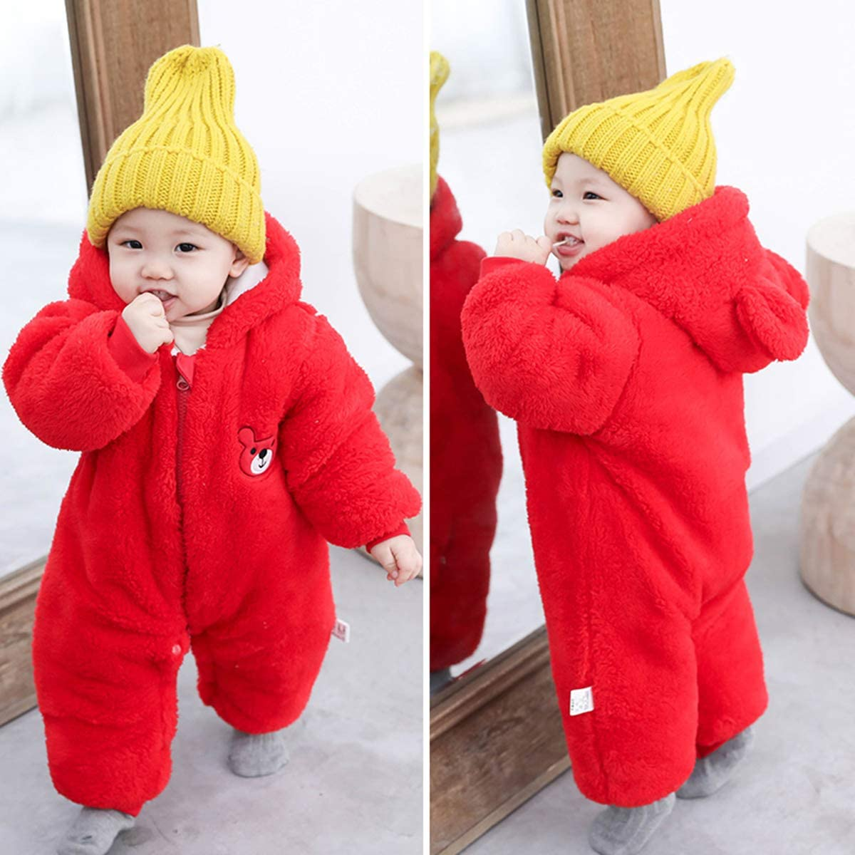 Aisheny Newborn Baby Boy Girl Hooded Snowsuit Fleece Winter Thick Warm Jumpsuit with Ears