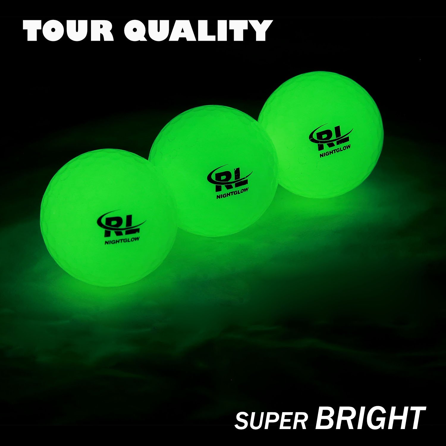 R&L Glow Golf Balls for Night Sports - Tournament Fluorescent Glowing in The Dark Golf Ball - Long Lasting Bright Luminous Balls Rechargeable with UV Flashlight - Included (3 Pack) by R&L