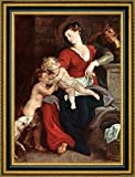 The Holy Family with the Basket by Peter Paul Rubens - 17'' x 23'' Framed Giclee Canvas Art Print - Ready to Hang